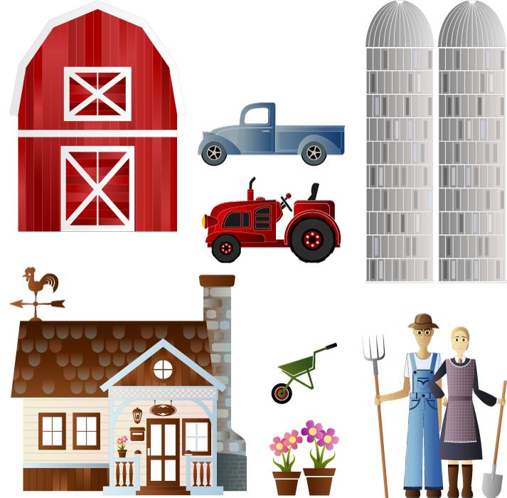 フリーイラスト 農家の夫婦と農業のセット