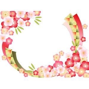 フリーイラスト, ベクター画像, AI, 背景, フレーム, 対角フレーム, 年中行事, 正月, 元旦(元日), 1月, 梅(ウメ), 竹(タケ), 年賀状, 植物, 花, 花柄