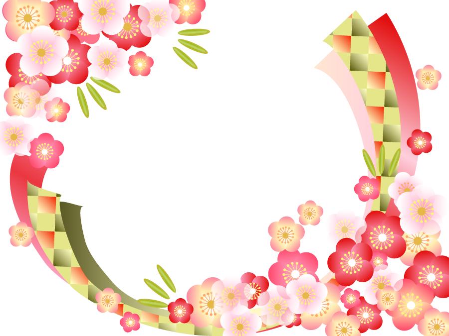 フリーイラスト 梅の花と竹の飾り枠