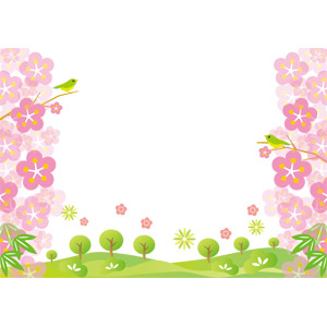 フリーイラスト, ベクター画像, AI, 風景, 年中行事, 正月, 元旦(元日), 1月, 植物, 花, 梅(ウメ), 竹(タケ), 松(マツ), 丘, 鶯(ウグイス)