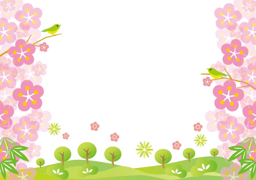 フリーイラスト 松竹梅と鶯の新春の風景