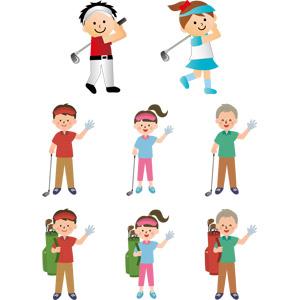フリーイラスト, ベクター画像, EPS, スポーツ, 球技, ゴルフ, ゴルファー, 人物, 男性, 女性, 老人, 祖父(おじいさん), ゴルフクラブ, ゴルフバッグ, 手を振る, サンバイザー