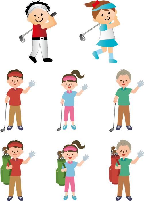 フリーイラスト ゴルフクラブを持つ8種類のゴルファーのセット