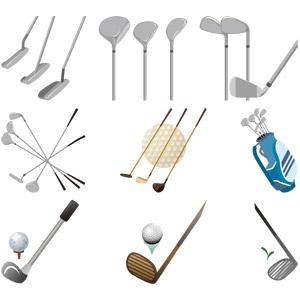 フリーイラスト, ベクター画像, EPS, スポーツ, 球技, ゴルフ, ゴルフクラブ, ゴルフボール, ゴルフバッグ