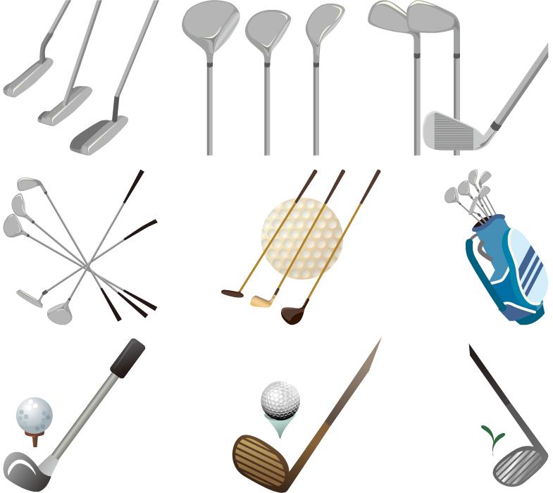 フリーイラスト 9種類のゴルフクラブのセット