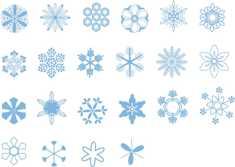 フリーイラスト 22種類の雪の結晶のセット