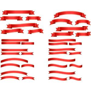 フリーイラスト, ベクター画像, AI, リボン, 帯リボン, 赤色(レッド), 飾り(装飾)