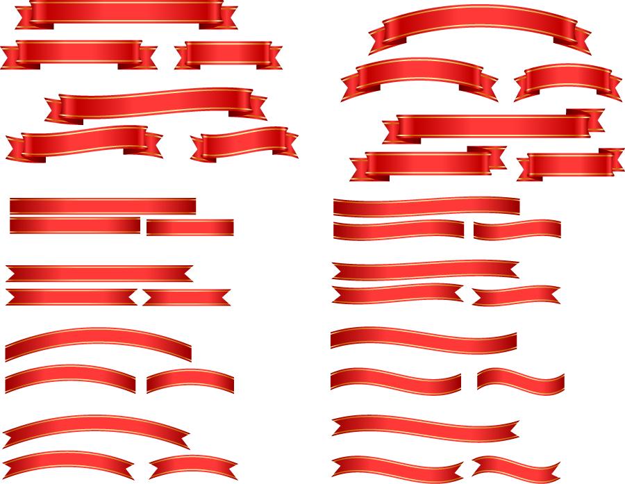 フリーイラスト 赤色の帯リボンのセット