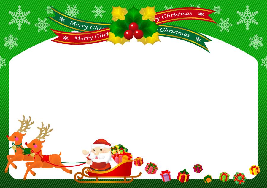 フリーイラスト サンタとトナカイのクリスマスフレーム