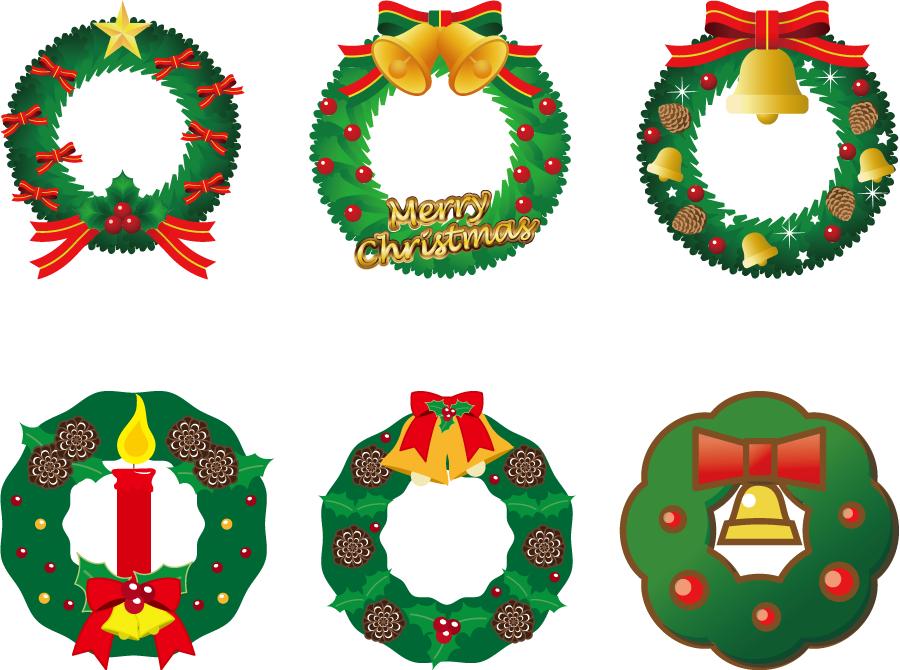 フリーイラスト 6種類のクリスマスリースのセット