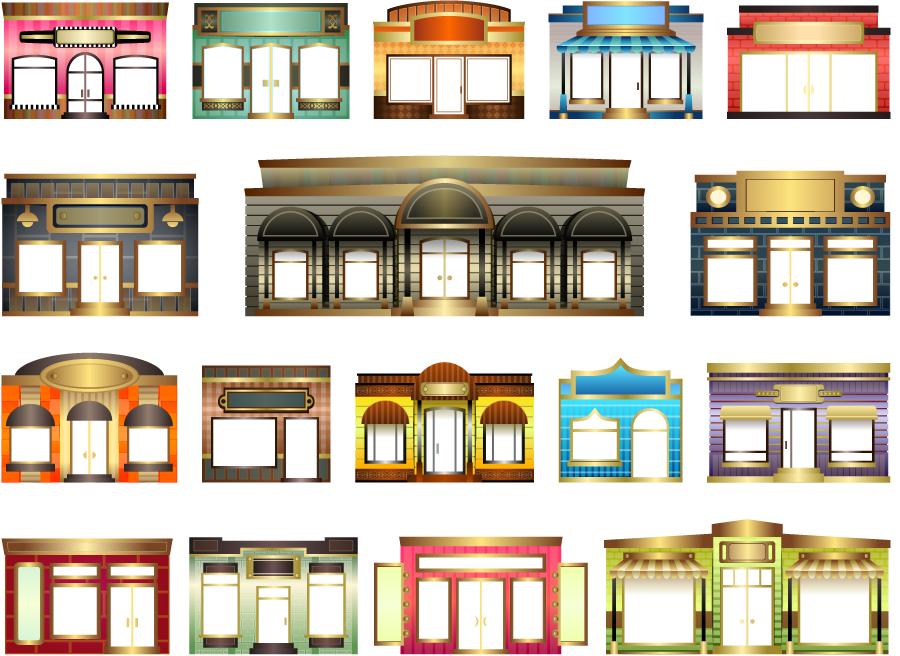 フリーイラスト 17種類の洋風のお店のセット