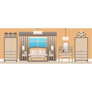 フリーイラスト, ベクター画像, SVG, 風景, 部屋, 寝室(ベッドルーム), 箪笥(タンス), ベッド, 化粧台