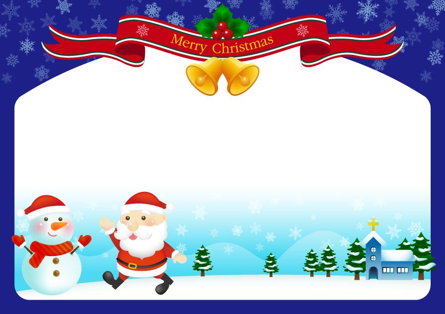フリーイラスト 雪だるまとサンタのクリスマスフレーム
