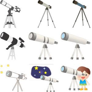 フリーイラスト, ベクター画像, AI, 望遠鏡, 天体観測, 科学