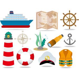 フリーイラスト, ベクター画像, EPS, 乗り物, 船, 客船, 地図, 舵, 灯台(ライトハウス), 海藻, 望遠鏡, 碇(いかり), 浮き輪, キャプテンハット, 救命胴衣(ライフジャケット), 船の部品, 航海
