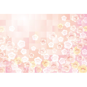 フリーイラスト, ベクター画像, AI, 背景, 花柄, 梅(ウメ), ピンク色, 正月, 雛祭り(ひなまつり), 1月, 3月, 上巳(桃の節句)