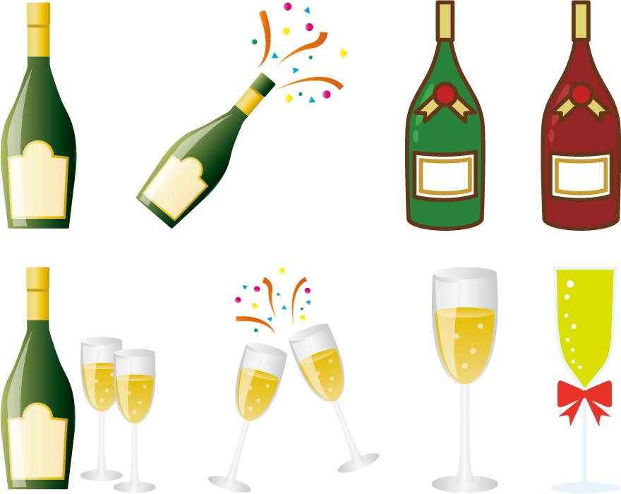 フリーイラスト 8種類のシャンパンのセット
