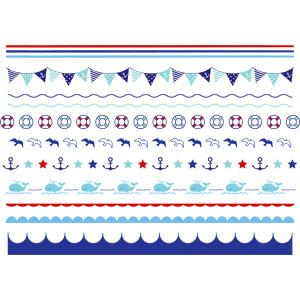フリーイラスト, ベクター画像, AI, 飾り罫線(ライン), フラッグガーランド, 浮き輪, 鴎(カモメ), 碇(いかり), 鯨(クジラ)
