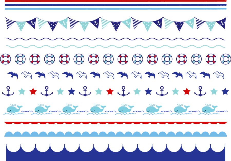 フリーイラスト マリン関連の飾り罫線のセット