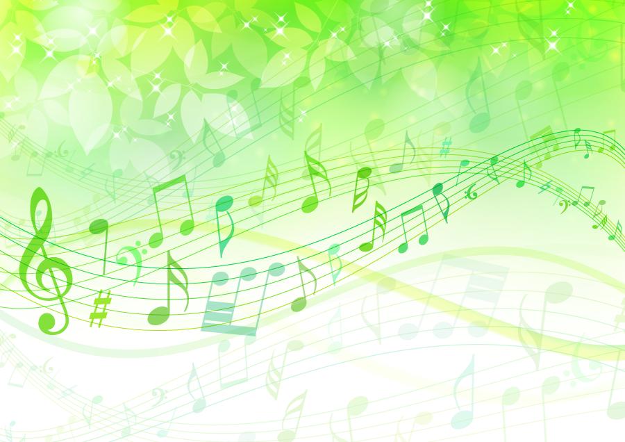 フリーイラスト 楽譜と葉っぱの背景