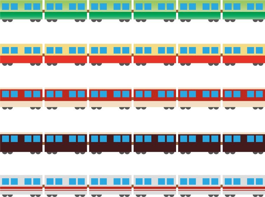 フリーイラスト 5種類の電車の飾り罫線のセット