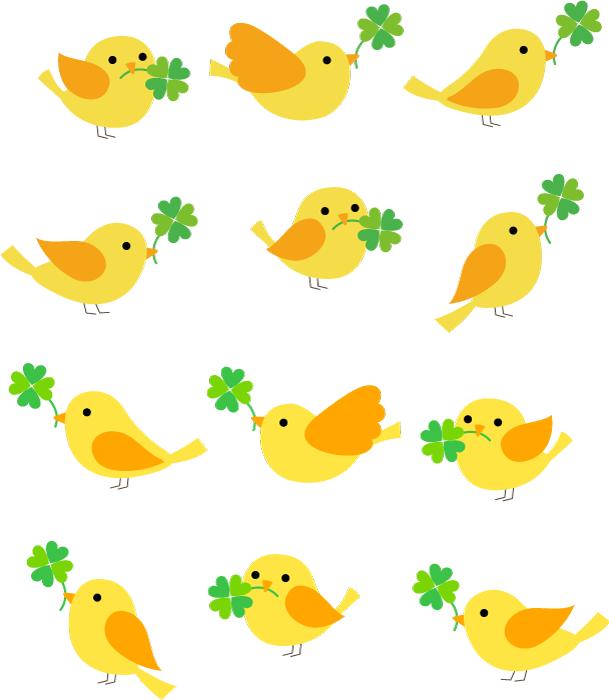 フリーイラスト 四つ葉のクローバーを咥える12種類の黄色い小鳥のセット