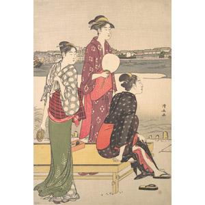 フリー絵画, 鳥居清長, 浮世絵, 人物画, 女性, 日本人, 和服, 着物, うちわ, 三人, 河川, 江戸時代
