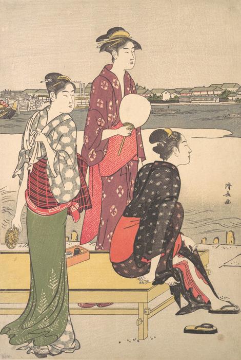 フリー絵画 鳥居清長作「濱屋 川岸の涼み」