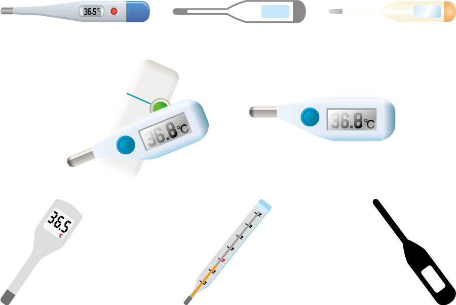 フリーイラスト 8種類の体温計のセット