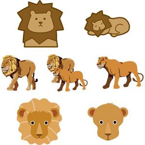フリーイラスト, ベクター画像, AI, 動物, 哺乳類, ライオン, カップル(動物), 動物の顔