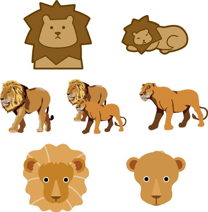 フリーイラスト 7種類のオスとメスのライオンのセット