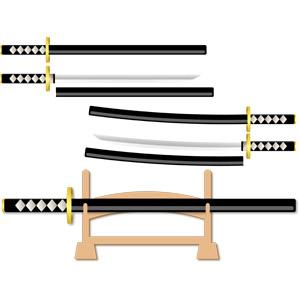 フリーイラスト, ベクター画像, EPS, 武器, 刀剣, 日本刀, 鞘, 刀掛台