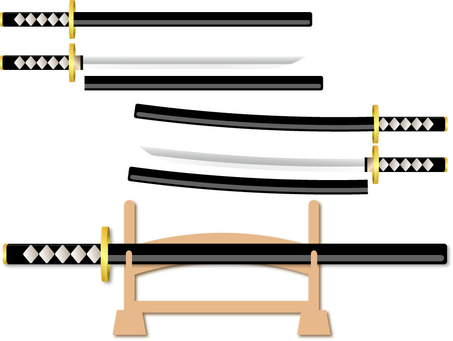 フリーイラスト 日本刀と鞘と刀掛台のセット