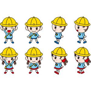 フリーイラスト, ベクター画像, EPS, 人物, 子供, 女の子, 男の子, 幼稚園児, 幼稚園, 通学帽(通園帽), ウインク