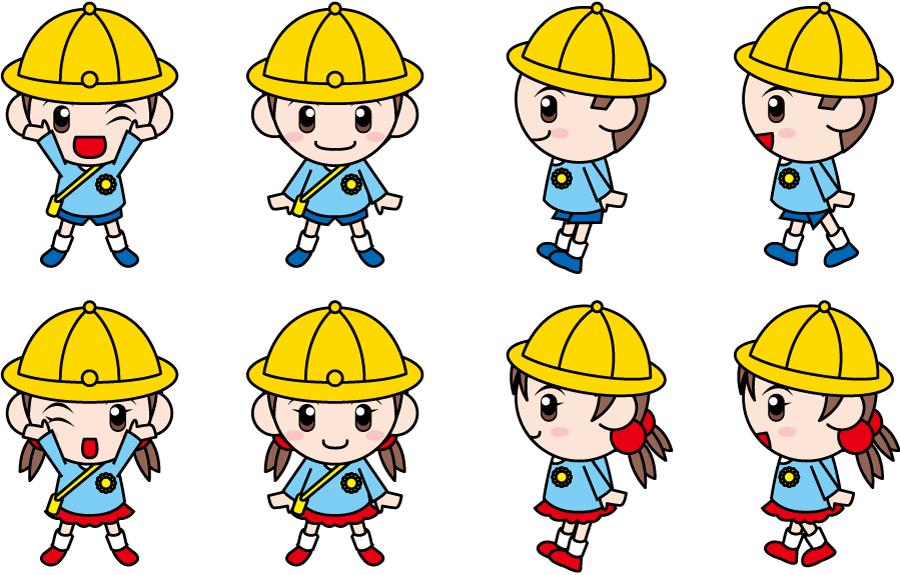 フリーイラスト 8種類の幼稚園児の男の子と女の子のセット