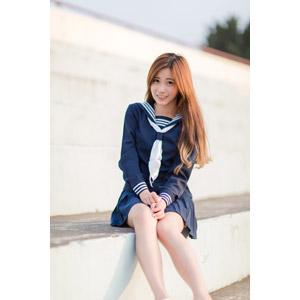 フリー写真, 人物, 女性, アジア人女性, 少女, アジアの少女, 楚珊(00053), 中国人, セーラー服(学生服), 学生服, 学生(生徒), 高校生, 観客席