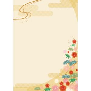 フリーイラスト, ベクター画像, AI, 背景, 和柄, 年中行事, 正月, 年賀状, 1月, 松(マツ), 竹(タケ), 梅(ウメ), 年賀状
