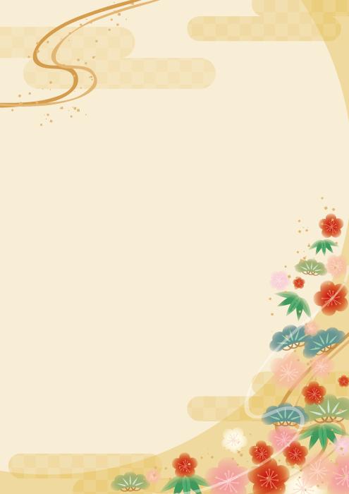フリーイラスト 松竹梅の和風の背景