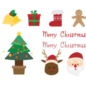 フリーイラスト, ベクター画像, EPS, 年中行事, クリスマス, 12月, 冬, サンタクロース, トナカイ, クリスマスツリー, メリークリスマス, クリスマスソックス, クリスマスプレゼント, クリスマスベル, ジンジャーブレッドマン