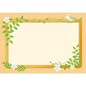フリーイラスト, ベクター画像, AI, 背景, フレーム, 囲みフレーム, 掲示板, つる植物, 小鳥