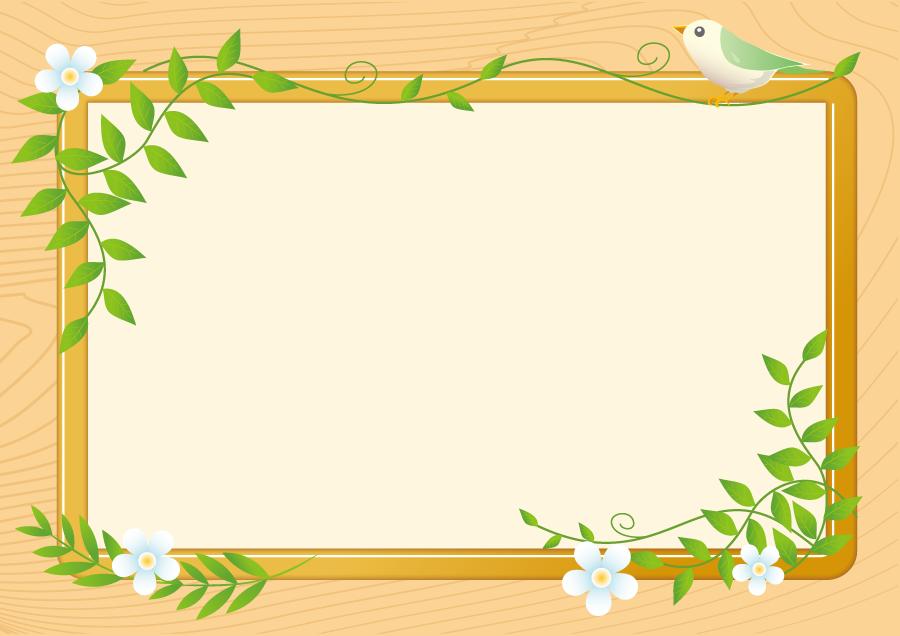 フリーイラスト 小鳥の止まる掲示板の飾り枠