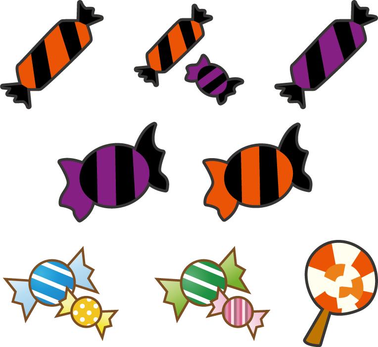 フリーイラスト 8種類のハロウィンのキャンディセット
