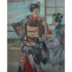 フリー絵画, 黒田清輝, 人物画, 女性, 少女, 和服, 着物, 芸者(舞妓), 河川