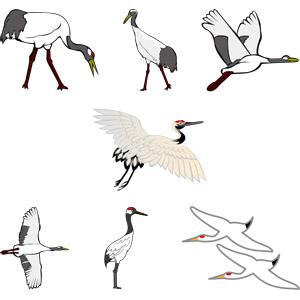 フリーイラスト, ベクター画像, AI, 動物, 鳥類, 鳥(トリ), 鶴(ツル), 丹頂鶴(タンチョウヅル), 正月