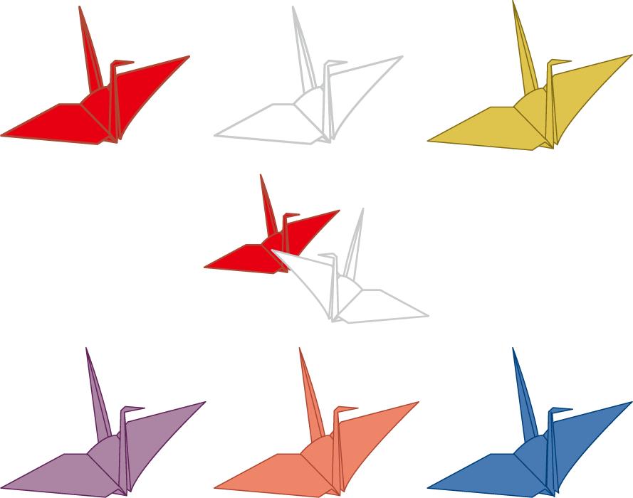 フリーイラスト 7種類の折り鶴のセット