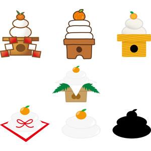 フリーイラスト, ベクター画像, AI, 年中行事, 正月, 1月, 鏡餅, 餅(もち), みかん, 日本神道