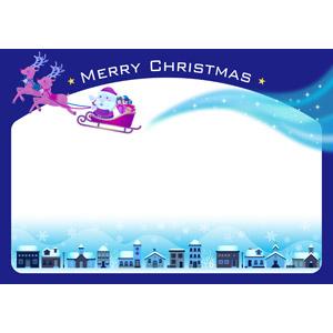 フリーイラスト, ベクター画像, AI, 背景, フレーム, 囲みフレーム, 年中行事, クリスマス, 12月, 冬, 街並み(町並み), 雪, サンタクロース, ソリ, トナカイ, クリスマスプレゼント, 夜