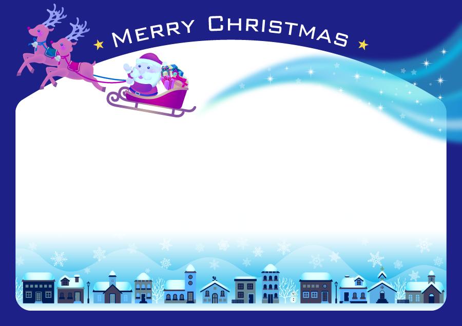 フリーイラスト 雪の降る街とサンタとトナカイの飾り枠