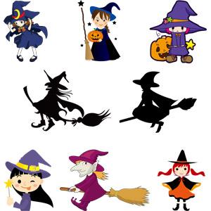 フリーイラスト, ベクター画像, AI, 年中行事, ハロウィン(ハロウィーン), 10月, 魔女, 空飛ぶ箒, ジャック・オー・ランタン, 舌を出す
