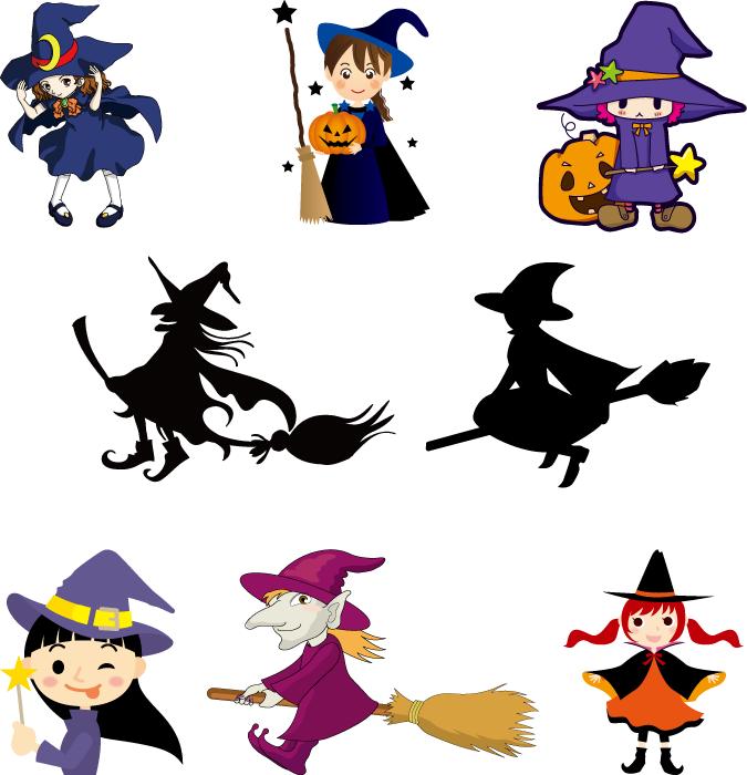 フリーイラスト 8種類の魔女のセット